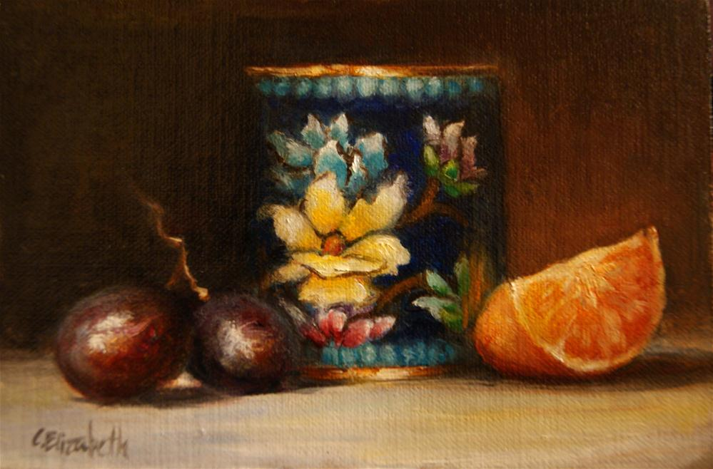"""Still Life with Cloisonne Cup,  Oil on  4x6   Linen Panel"" original fine art by Carolina Elizabeth"