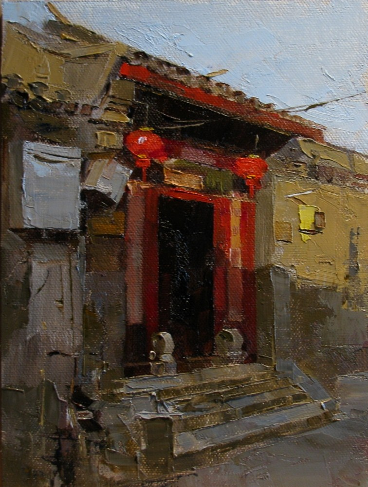 """Gate with Red Lanterns"" original fine art by Qiang Huang"