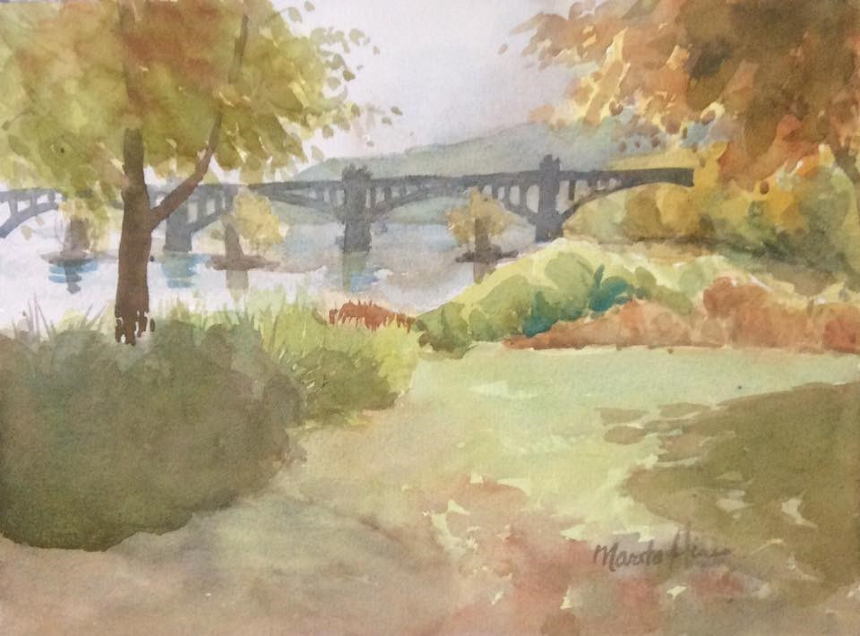 """Susquehanna West Shore"" original fine art by Marita Hines"