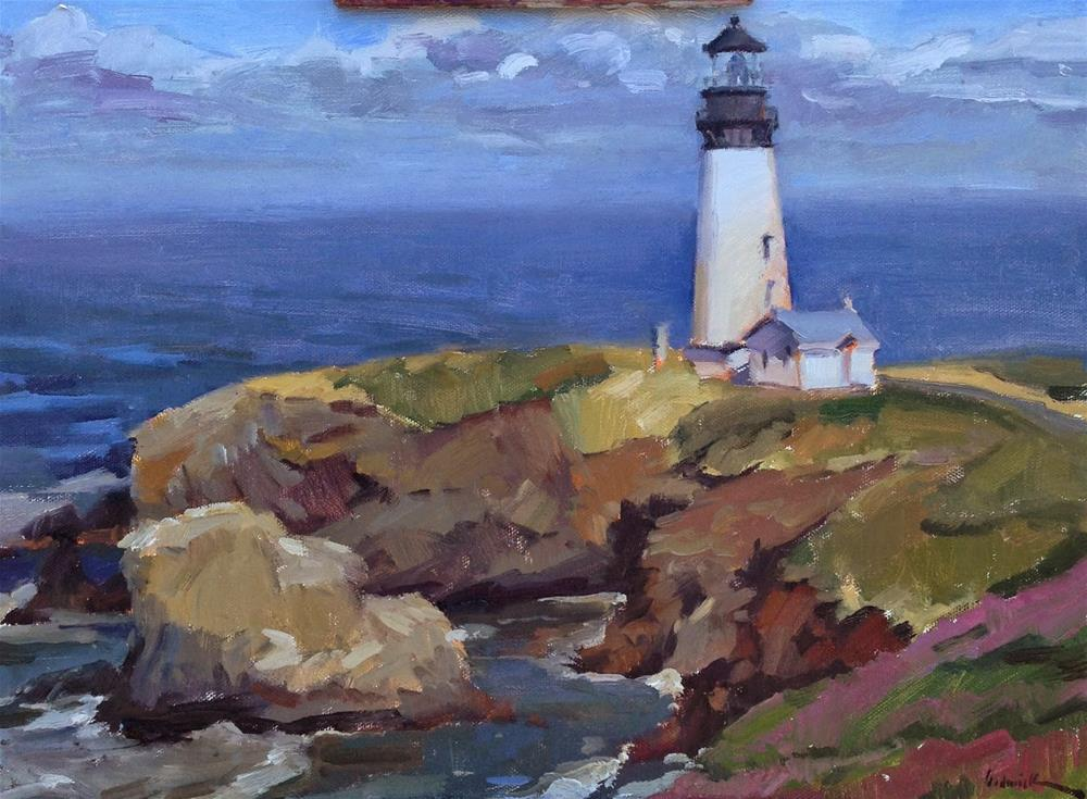 """The Lighthouse at Yaquina Head"" original fine art by Sarah Sedwick"