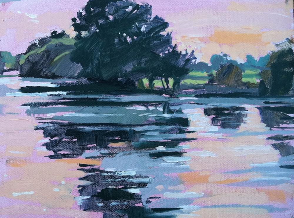 """Lakeside farm, sunset"" original fine art by Haidee-Jo Summers ROI"