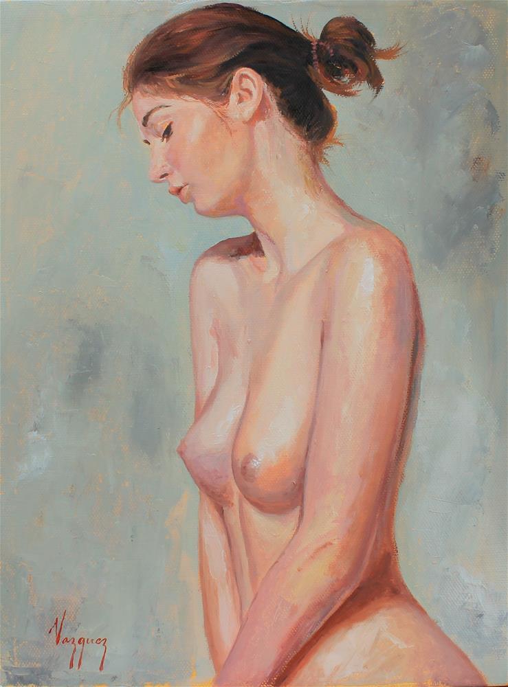 """Nude in profile study"" original fine art by Marco Vazquez"