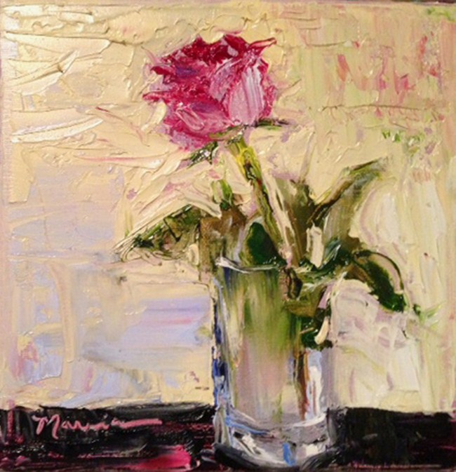 """Pink Rose for You"" original fine art by Marcia Hodges"