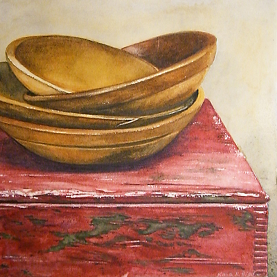 """Wooden Bowls"" original fine art by Kara K. Bigda"