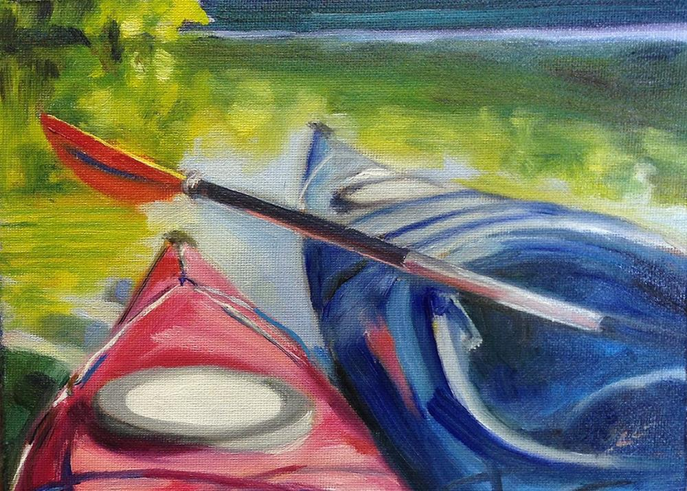"""Paddling Buddies"" original fine art by Linda Lowery"