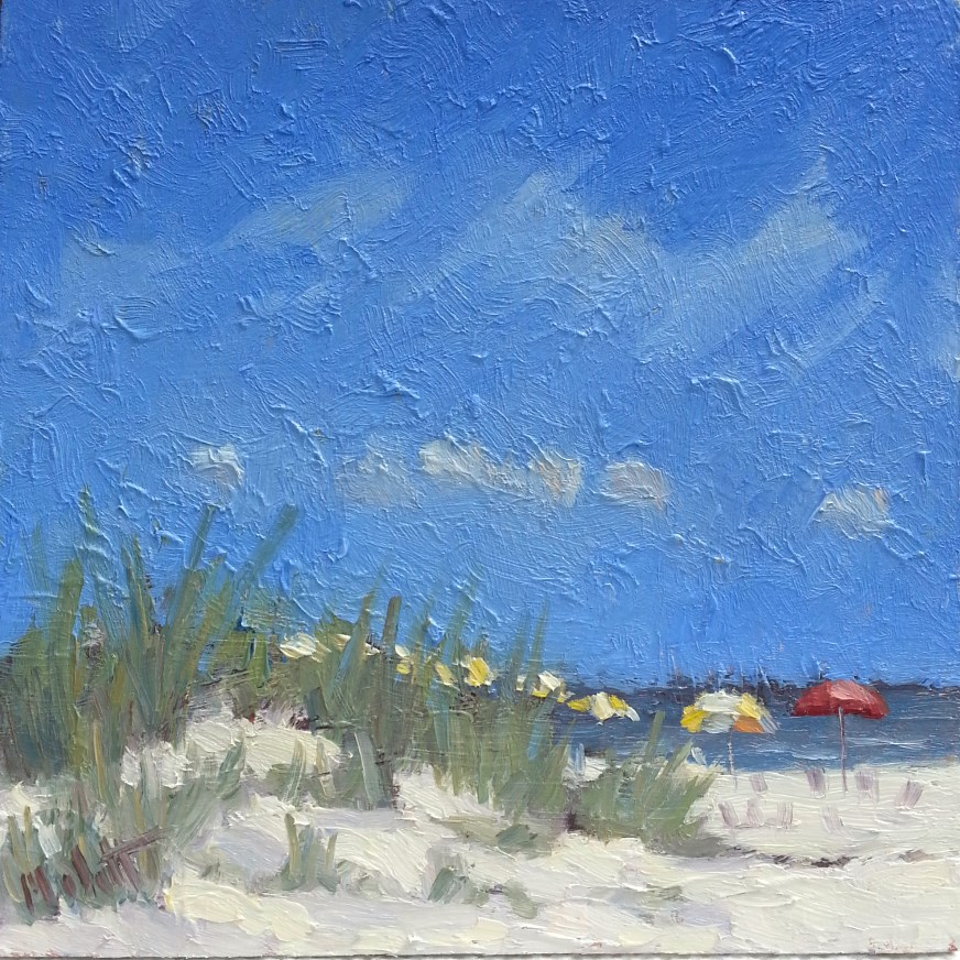 """Clearwater Beach Florida umbrellas"" original fine art by Heidi Malott"