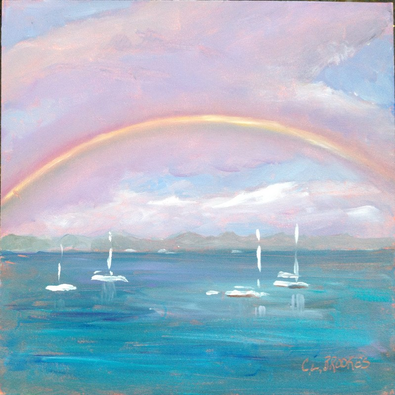 """St John Rainbow"" original fine art by Claudia L Brookes"