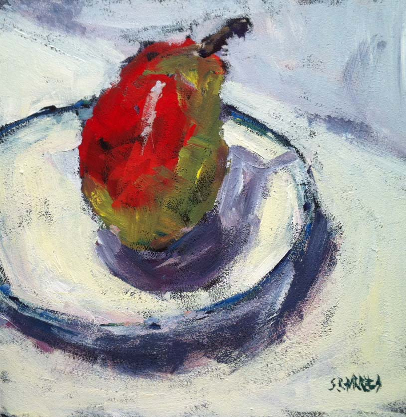 """pear on white"" original fine art by Shelley Garries"