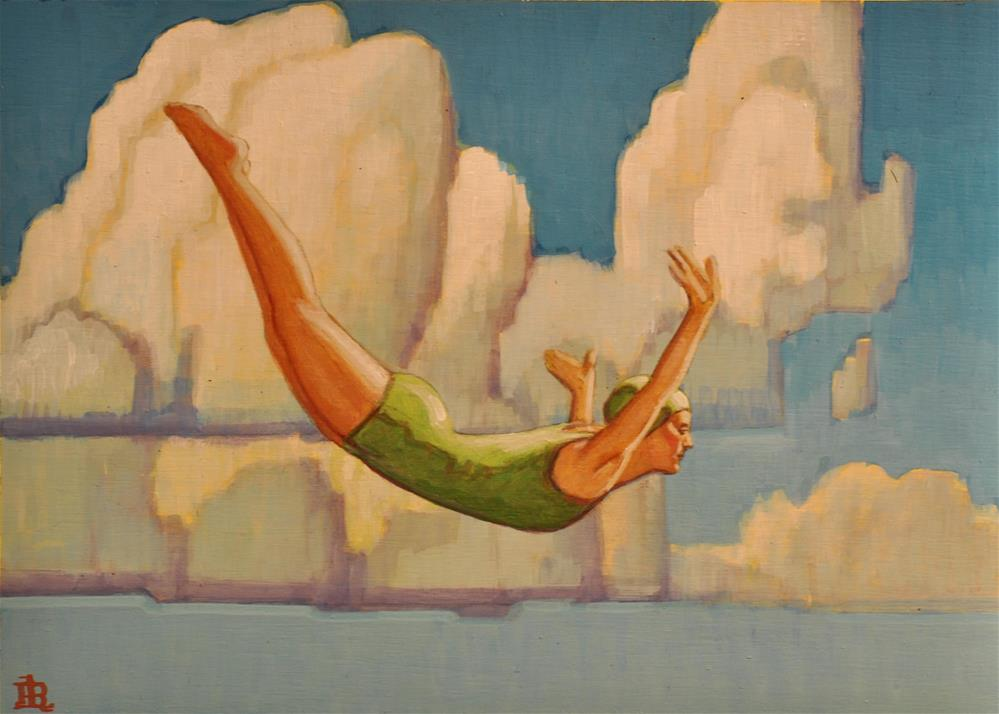 """Diving"" original fine art by Robert LaDuke"