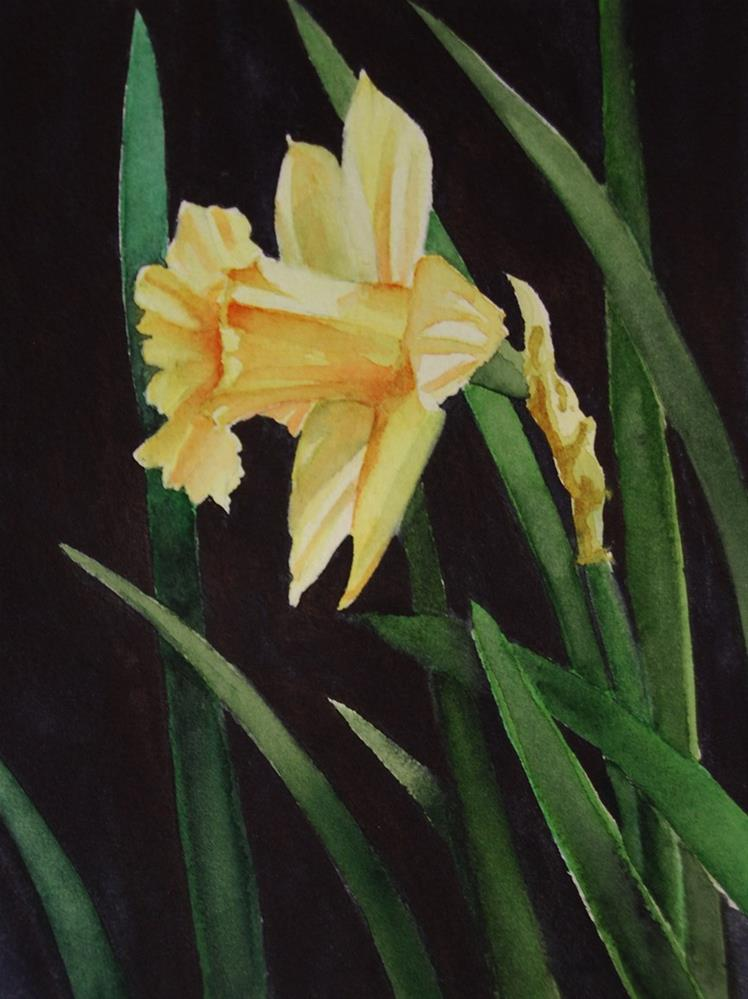 """Single Daffodil"" original fine art by Mary Anderson"