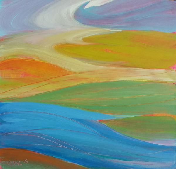 """Valley Morning 24 abstract landscape oil painting"" original fine art by Pam Van Londen"