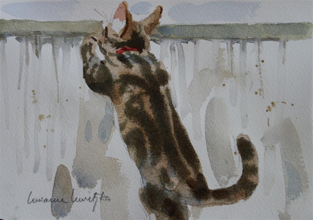 """Jumping Cat #2"" original fine art by Lorraine Lewitzka"