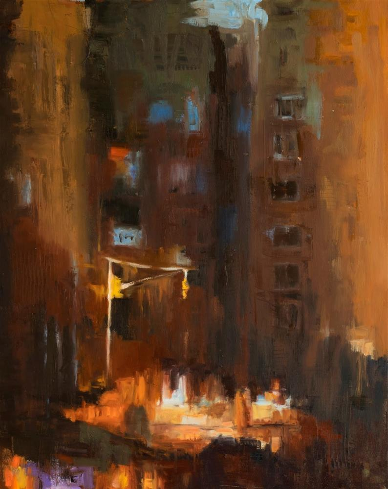 """KMA3087 Manhattan Mystery by Colorado artist  Kit Hevron Mahoney (30x24 abstract urban, New York Cit"" original fine art by Kit Hevron Mahoney"