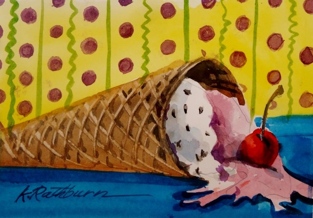 """Melting Moments of Ice Cream Fun"" original fine art by Kathy Los-Rathburn"