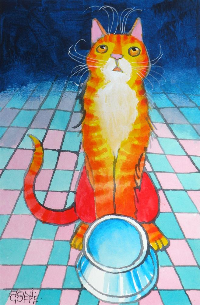 """There is no food on this dish !"" original fine art by Toni Goffe"