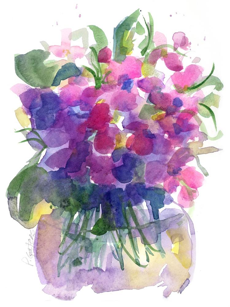 """Pink Violets"" original fine art by Pamela Gatens"