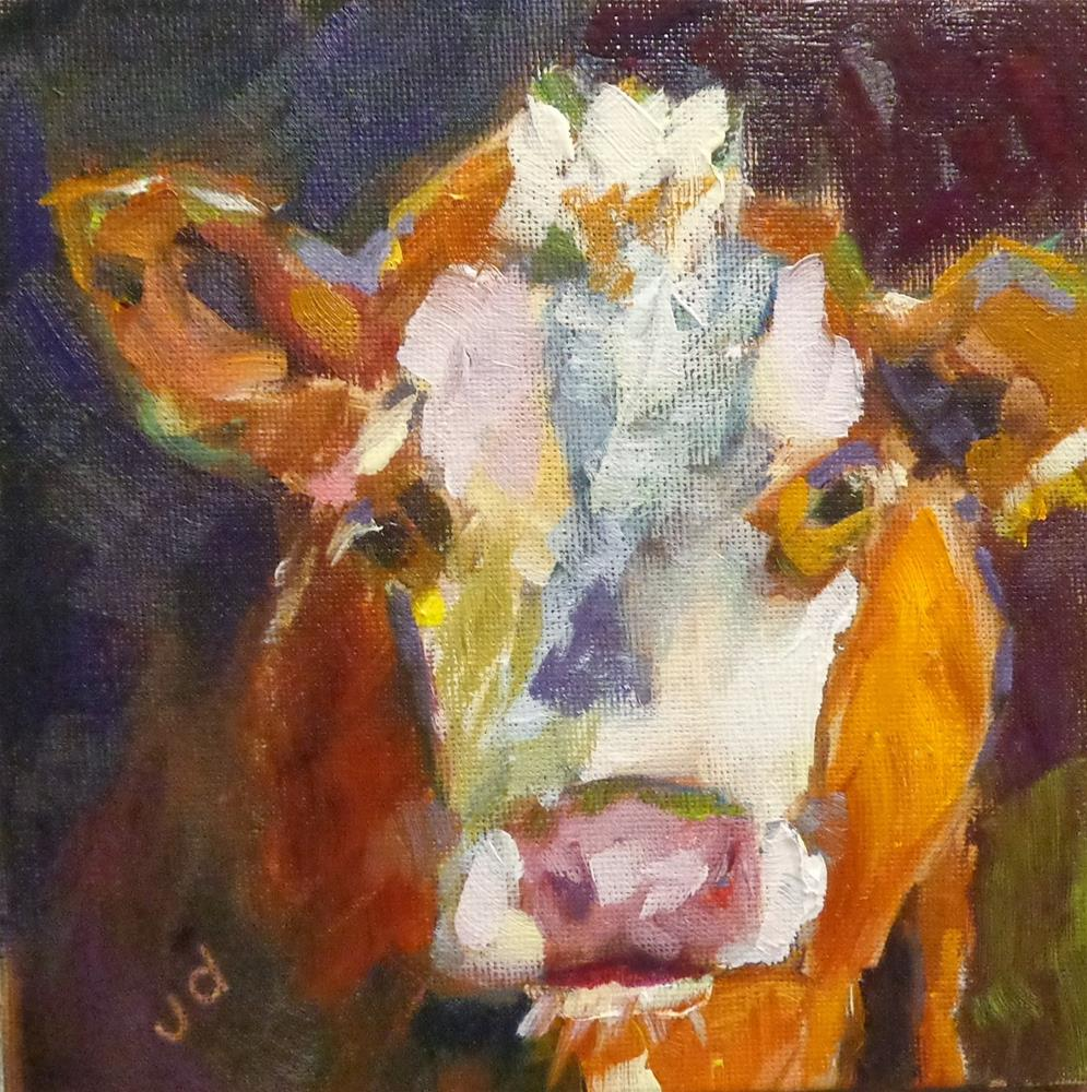 """Cow 4"" original fine art by Jean Delaney"
