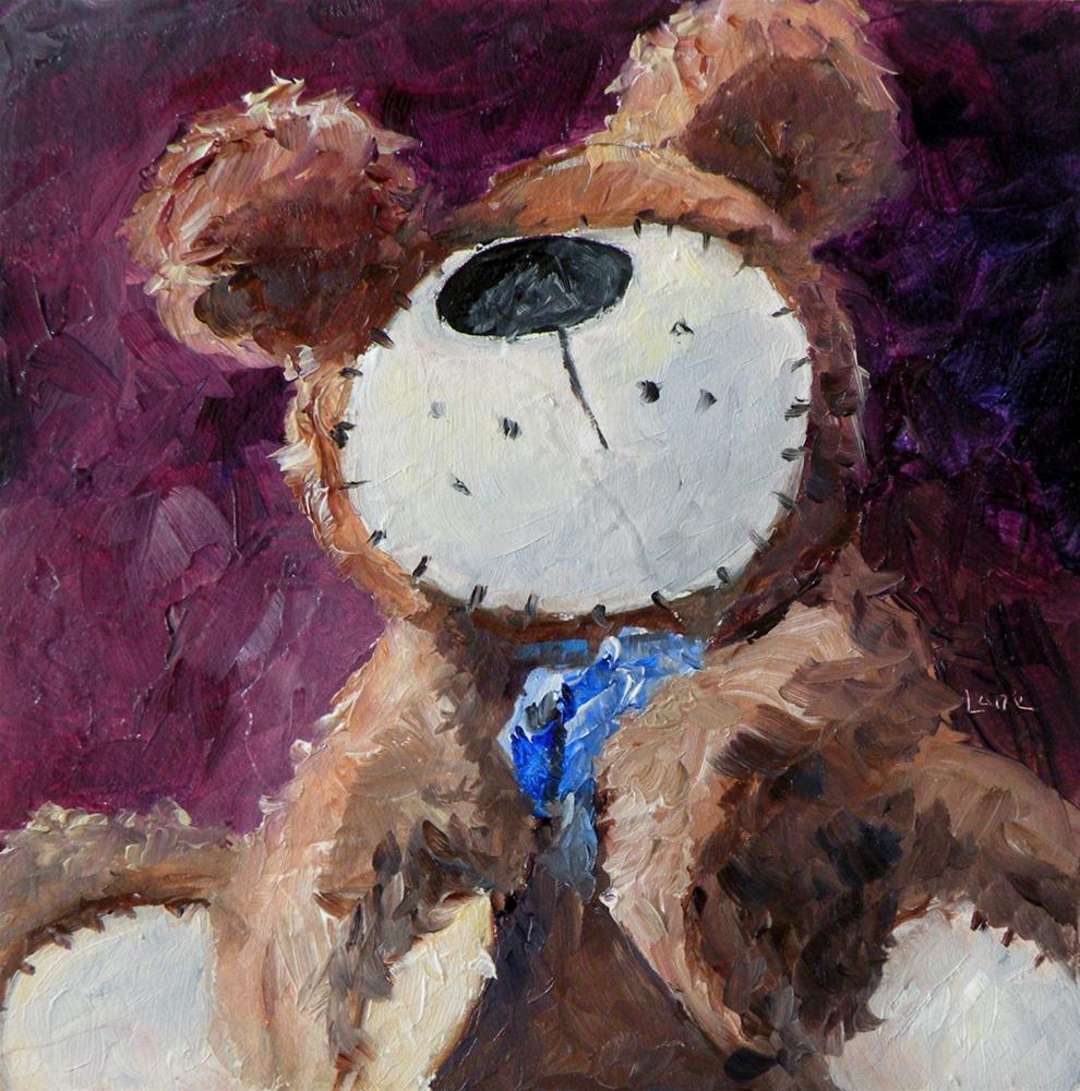 """FRECKLE BEAR 4X4 OIL ON PANEL © SAUNDRA LANE GALLOWAY"" original fine art by Saundra Lane Galloway"