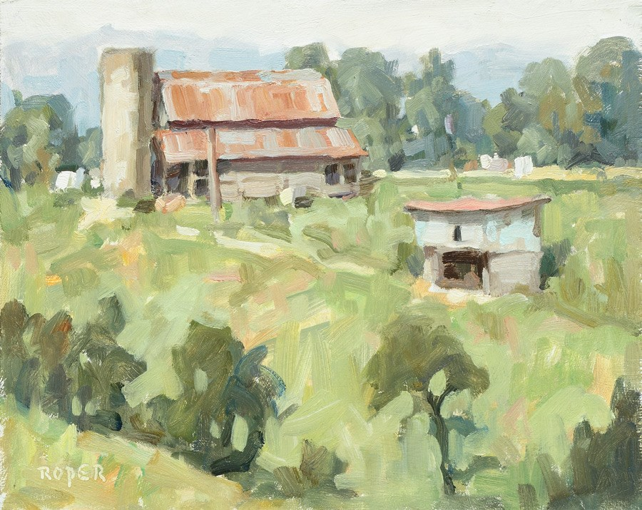 """DAY 17: Jupiter Farm 8 x 10 oil on panel"" original fine art by Stuart Roper"