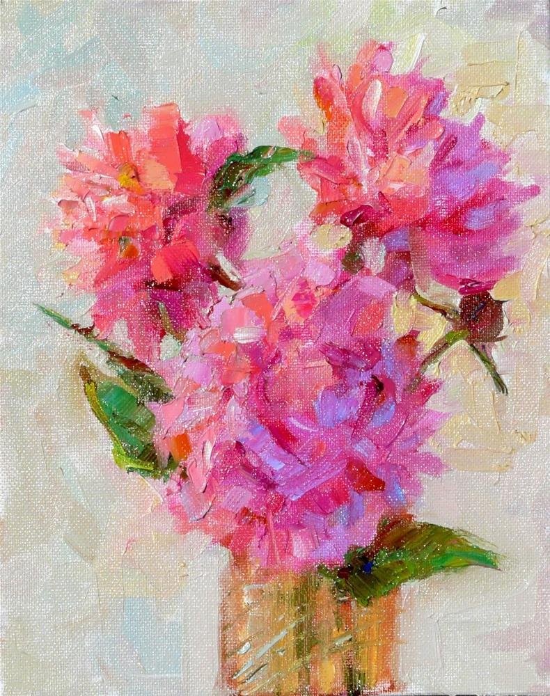 """First Peonies of Spring,still life, oil on canvas,10x8,price$250"" original fine art by Joy Olney"