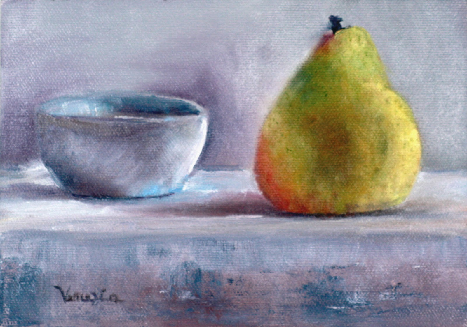 """oil painting still life with pear and bowl"" original fine art by Carrie Venezia"