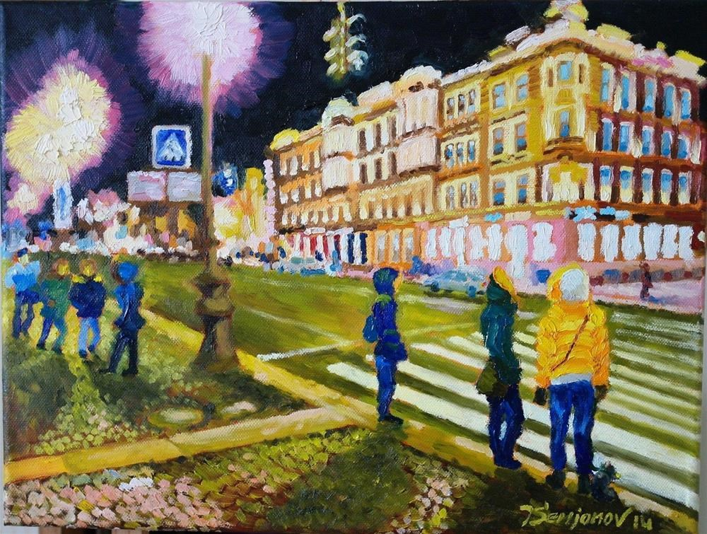 """night street in St.Petersburg"" original fine art by Juri Semjonov"