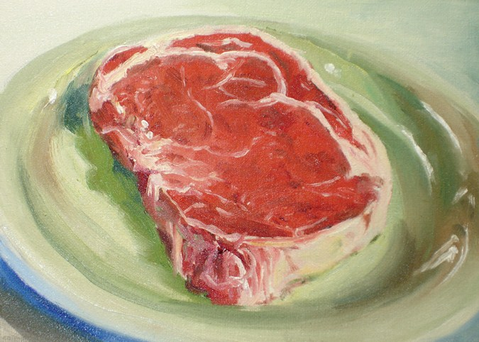 """Raw Meat"" original fine art by Linda Lowery"