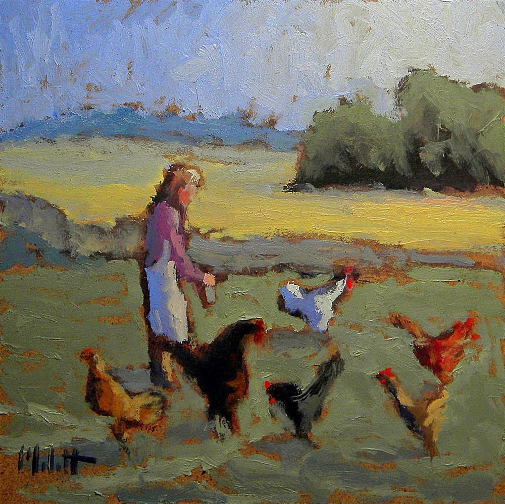 """Tending Her Chickens Daily Oil Paintings Heidi Malott"" original fine art by Heidi Malott"