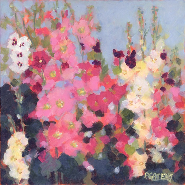 """Hollyhock Hideaway"" original fine art by Pamela Gatens"
