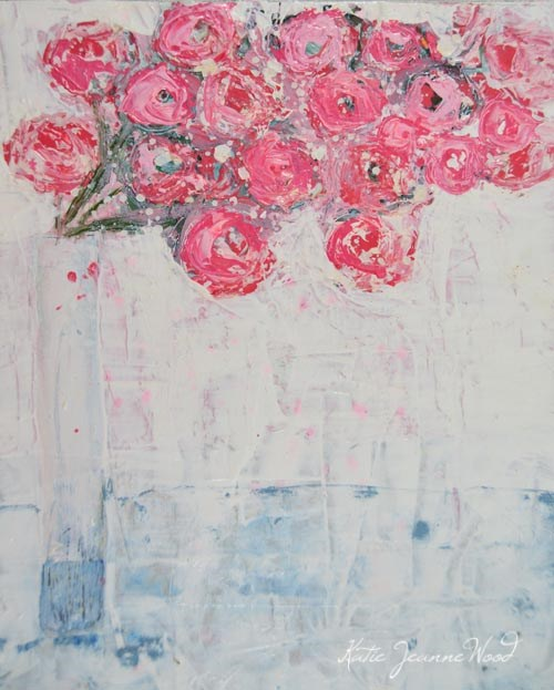 """Pink and white cottage chic flower painting No 108"" original fine art by Katie Jeanne Wood"