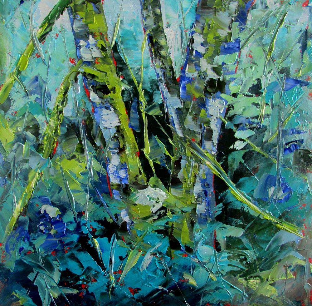 """""""8 x 8 oil Little Birches #10"""" original fine art by Linda Yurgensen"""