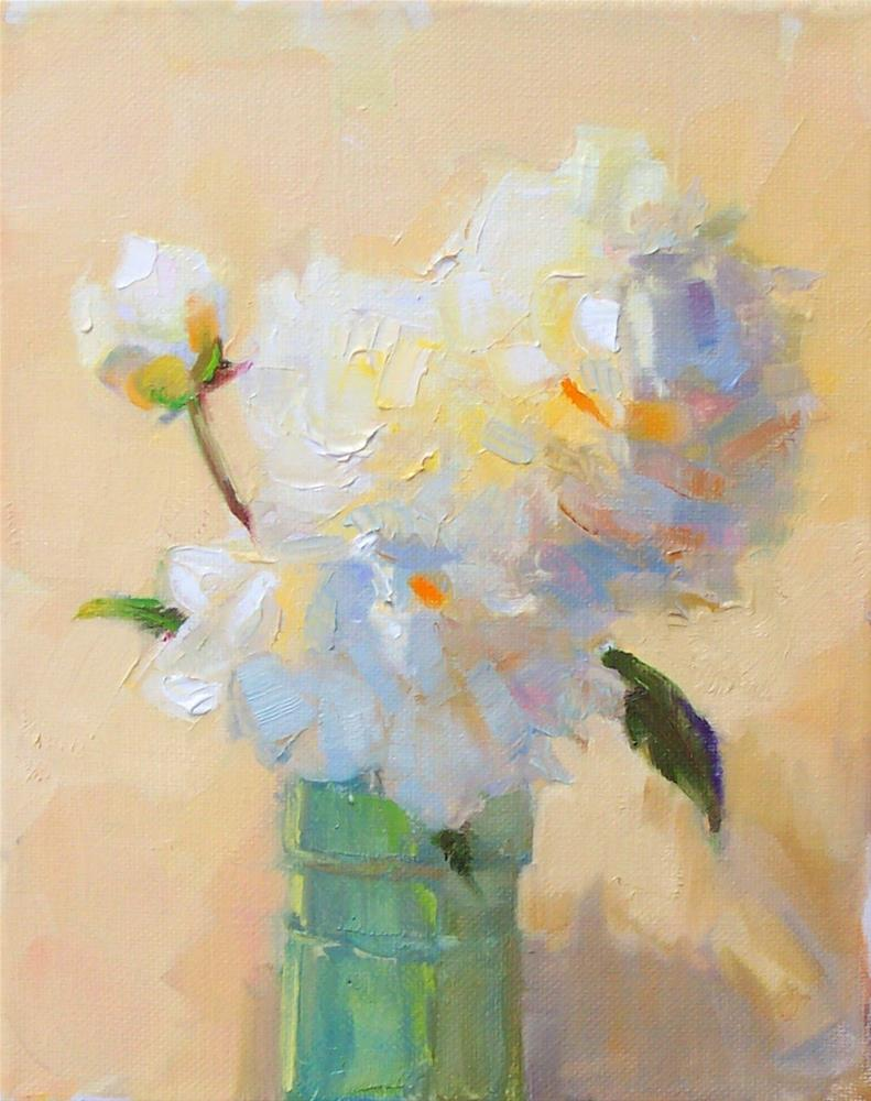 """White Peonies,still life,oil on canvas,10x8,price$250"" original fine art by Joy Olney"