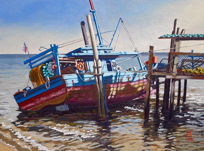 """Low tide, Penang, Malaysia"" original fine art by Alix Baker"