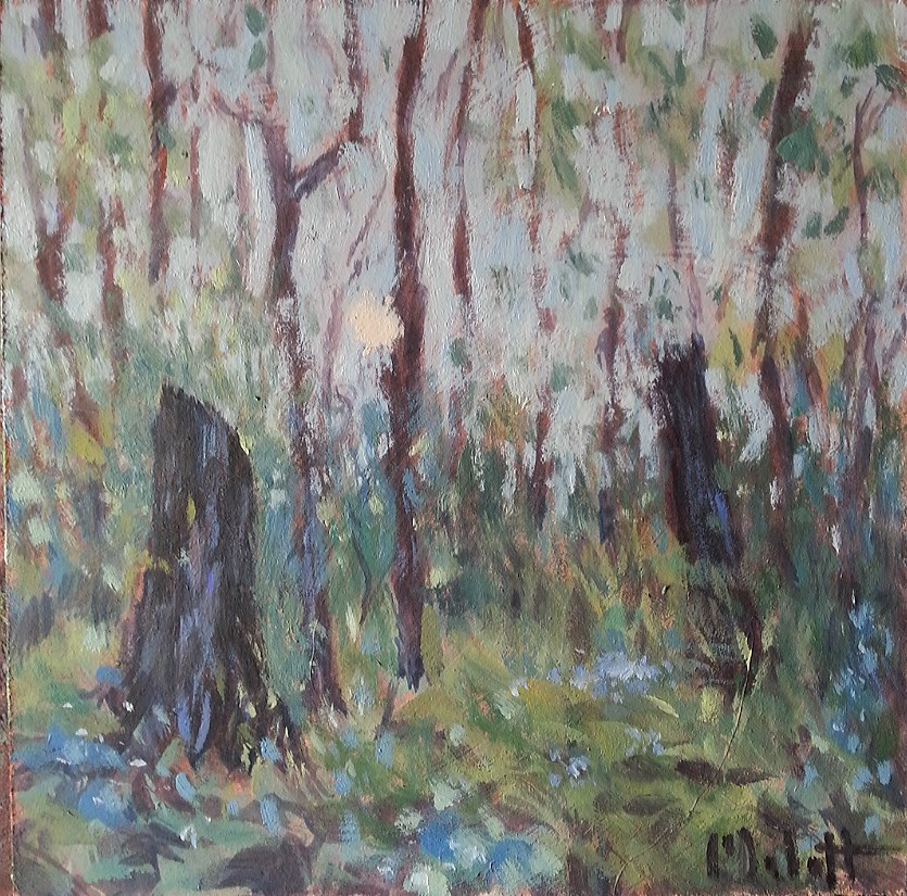 """Sunrise in the Woods Original Daily Oil Painting"" original fine art by Heidi Malott"