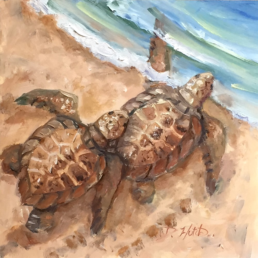 """Two Turtles"" original fine art by Diane Hutchinson"