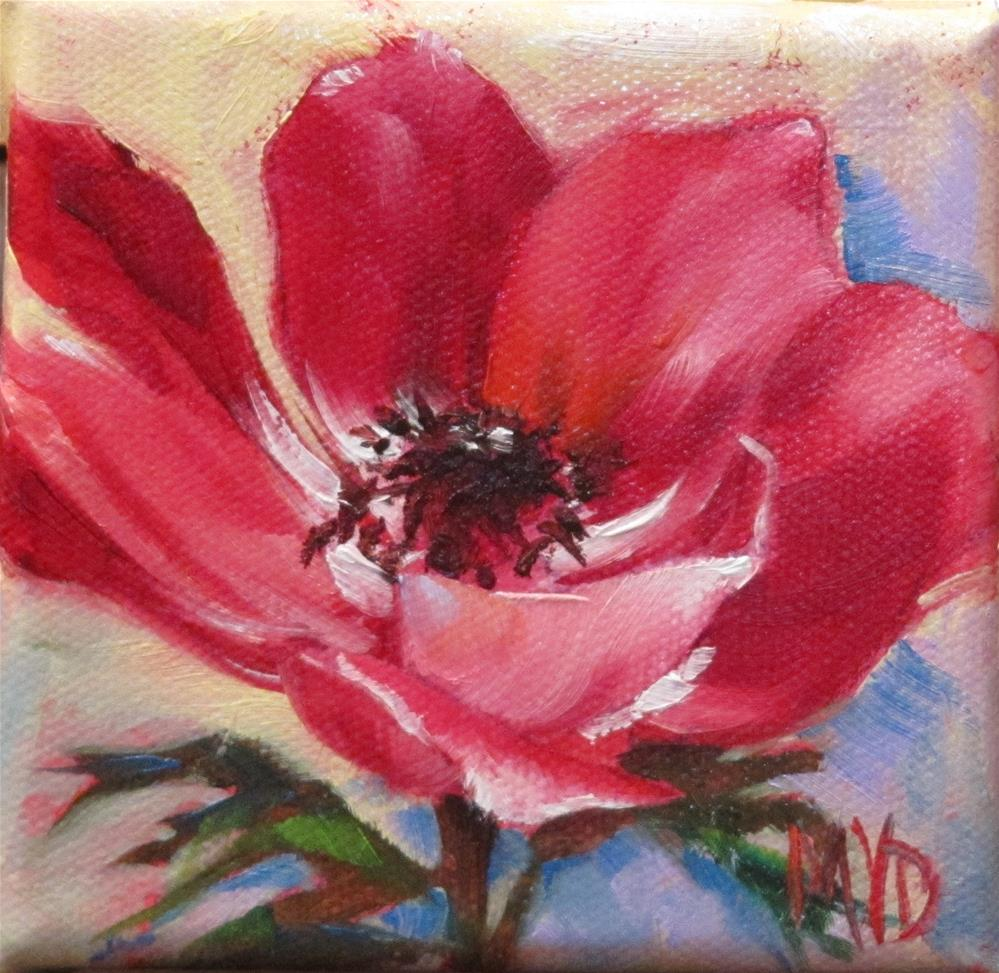 """Red Anemone"" original fine art by Mary Van Deman"