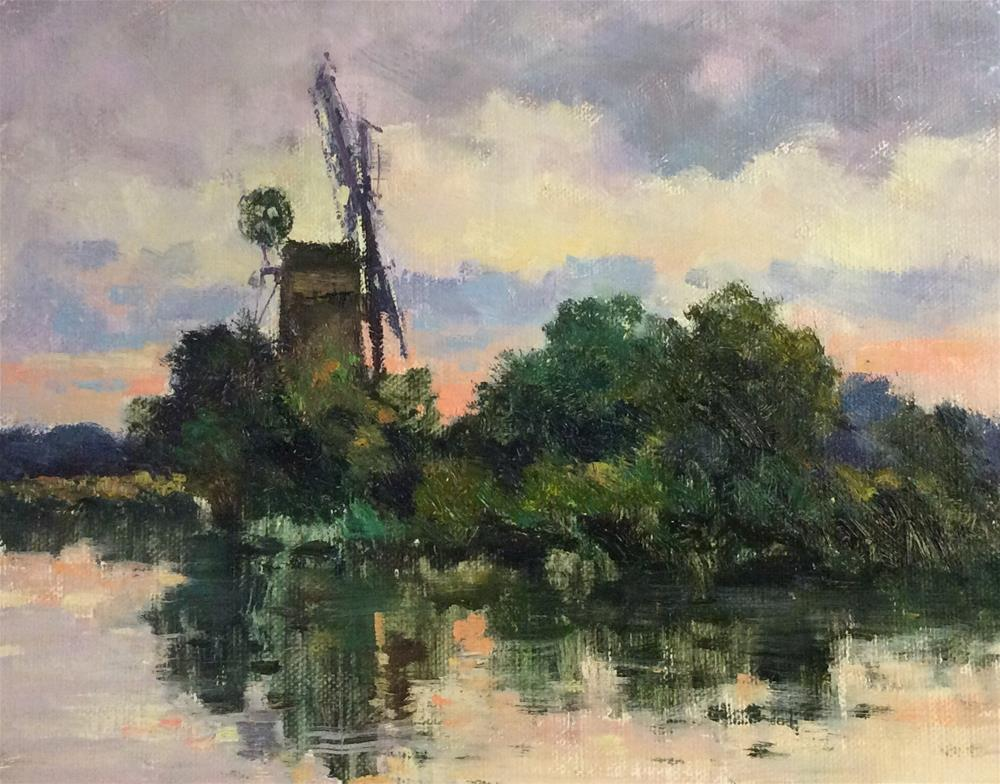 """Windmill on the Norfolk Broads"" original fine art by John Shave"