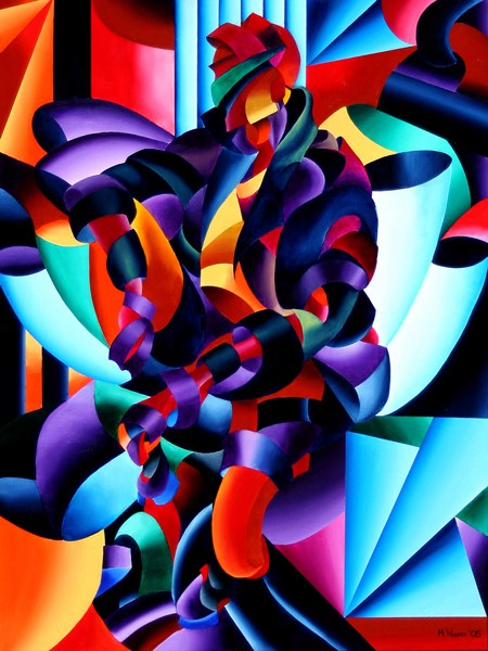 """Mark Adam Webster - Anamorphosis from the Outside In - Abstract Futurist Geometric Figurative Oil Pa"" original fine art by Mark Webster"