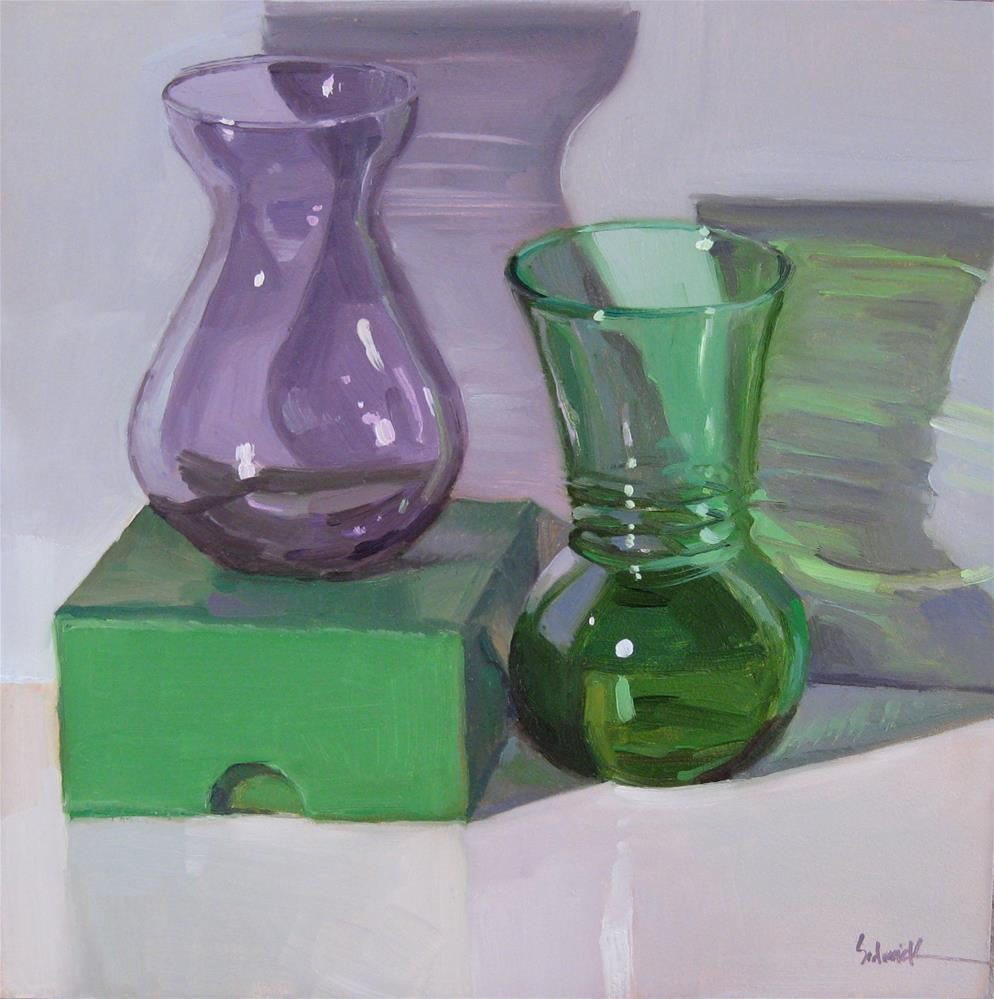 """Purple and Green Framed art, on sale."" original fine art by Sarah Sedwick"