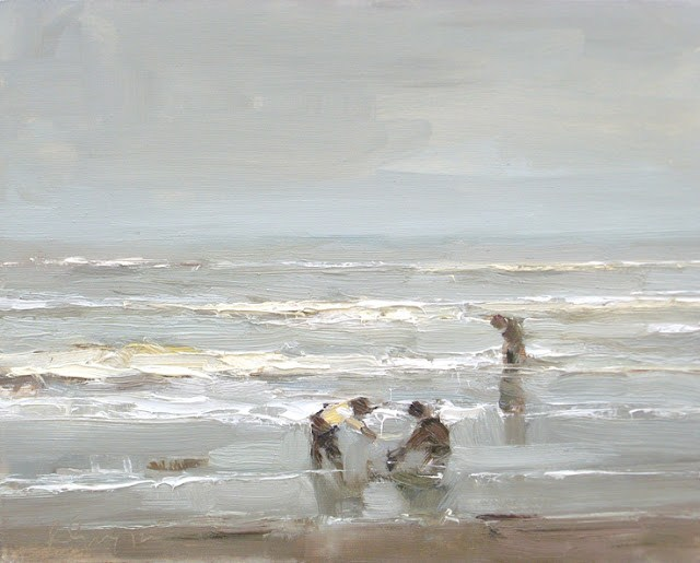 Seascape winter #34 Children playing with water and sand original fine art by Roos Schuring