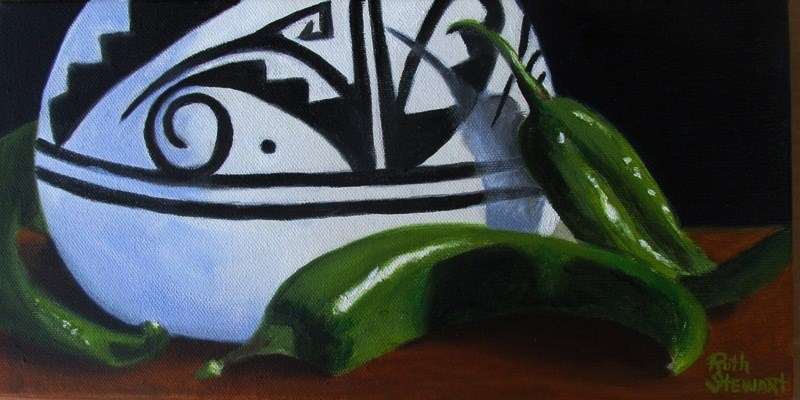 """Pot and Peppers"" original fine art by Ruth Stewart"