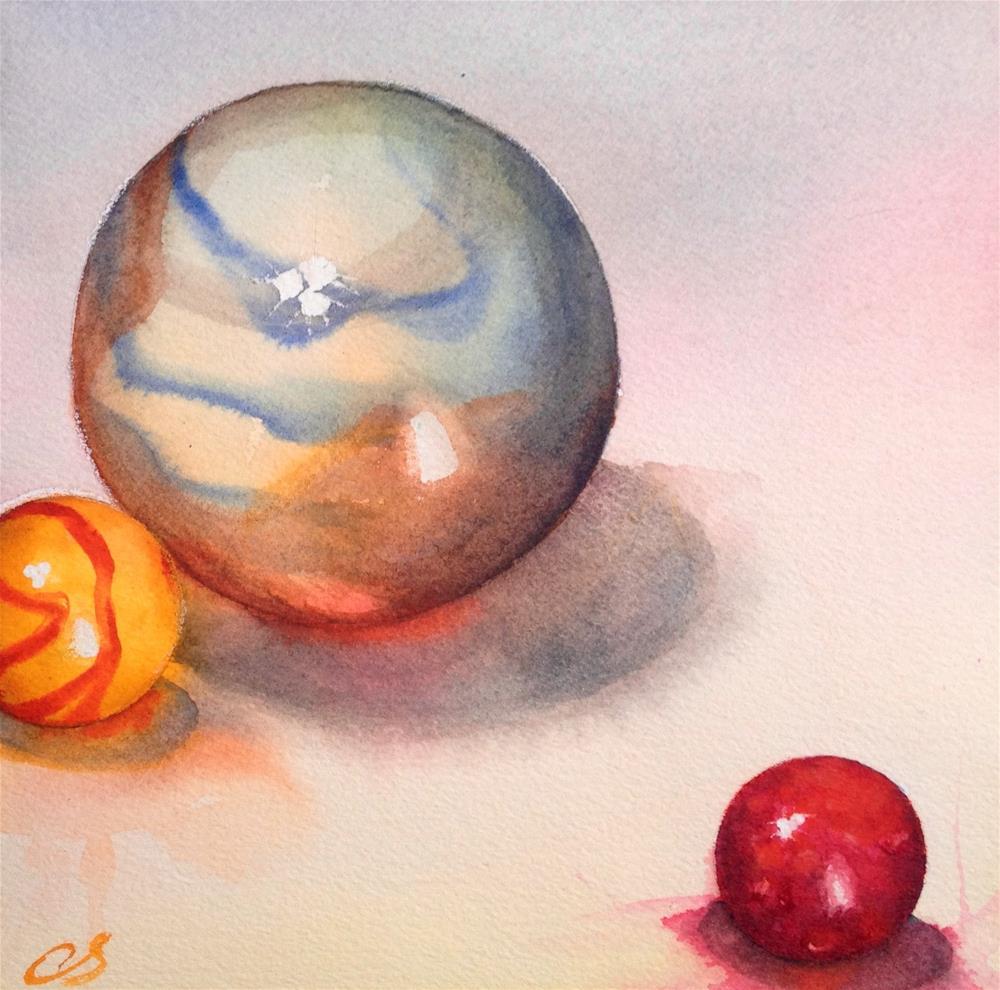 """Blue Yellow Red"" original fine art by Claudia Selene"