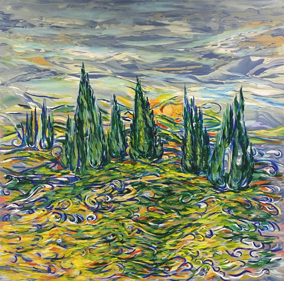 """Cypresses"" original fine art by Khrystyna Kozyuk"