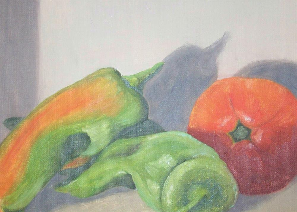 """Hot Peppers and Tomato"" original fine art by Elaine Shortall"