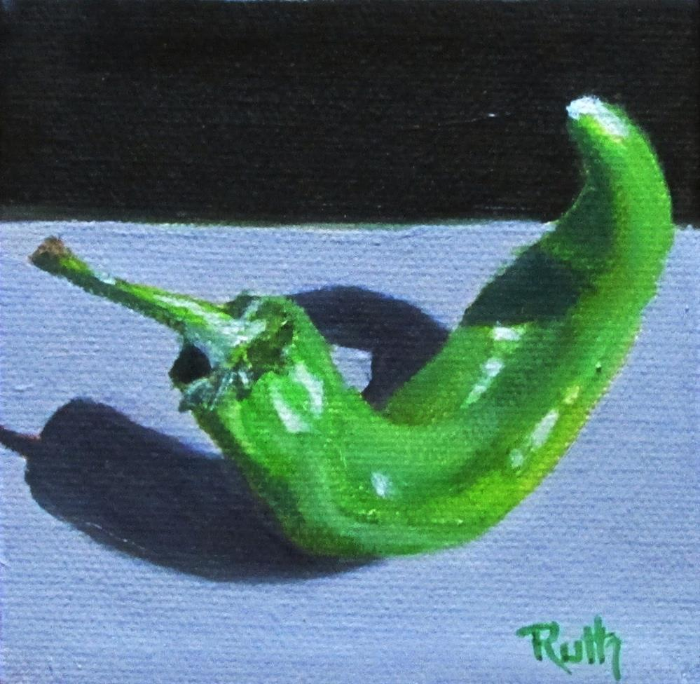 """Little Green"" original fine art by Ruth Stewart"