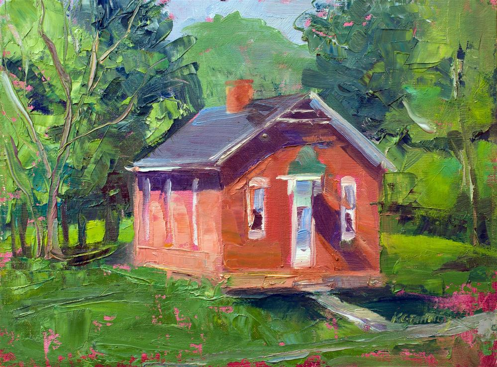 """The Little Schoolhouse"" original fine art by Kathleen Gray Farthing"