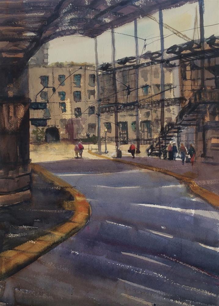 """""""San Diego Trolley Station"""" original fine art by Katharine Engh"""