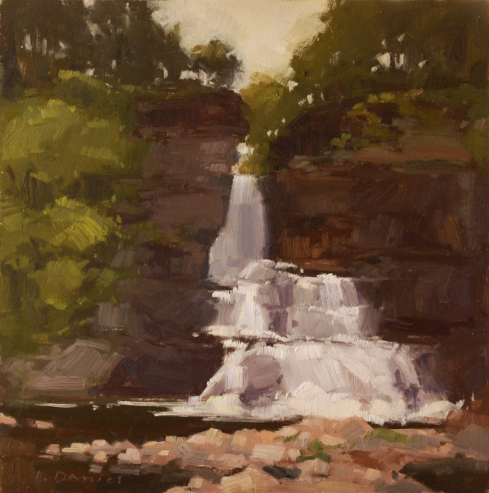 """High Falls - Adirondack Trip"" original fine art by Laurel Daniel"