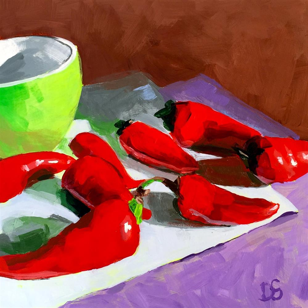 """Red Peppers with Green Bowl"" original fine art by Diana Stewart"
