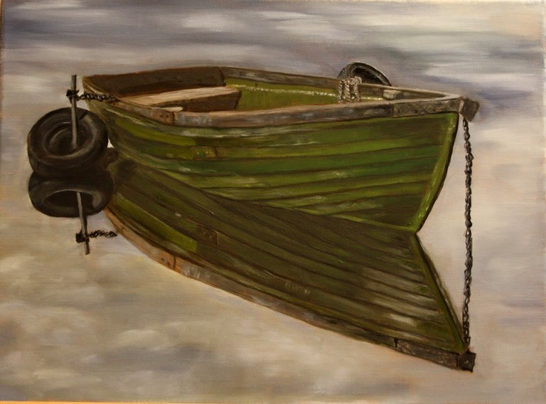 """Green Boat"" original fine art by Mary Datum"